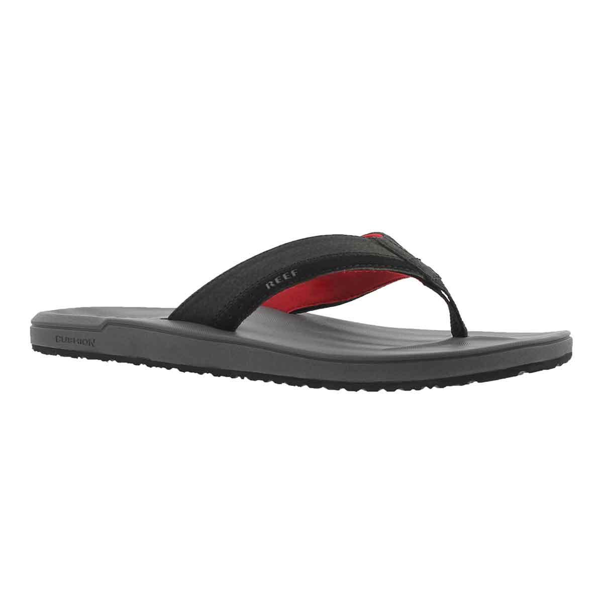 Men's CONTOURED CUSHION grey/red thong sandal