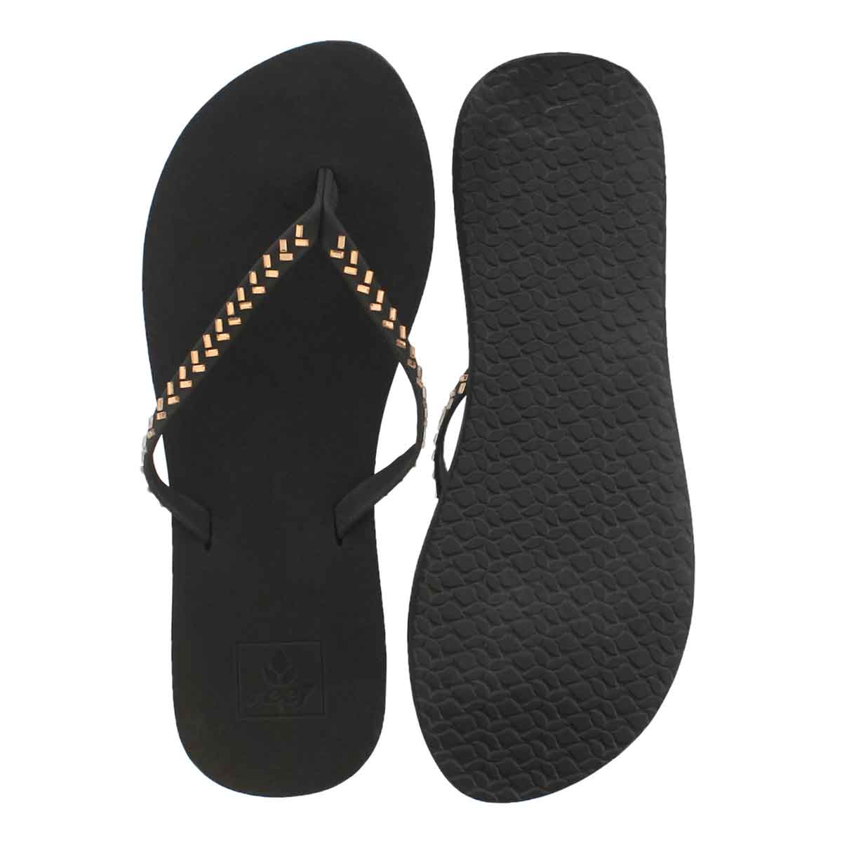 Lds Bliss Embellish blk/brnz flip flop