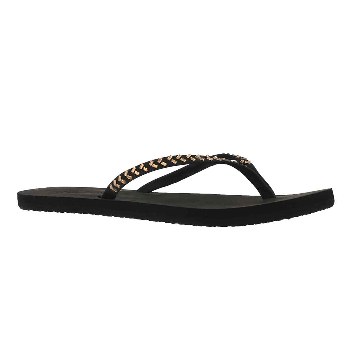 Women's BLISS EMBELLISH black/bronze flip flop
