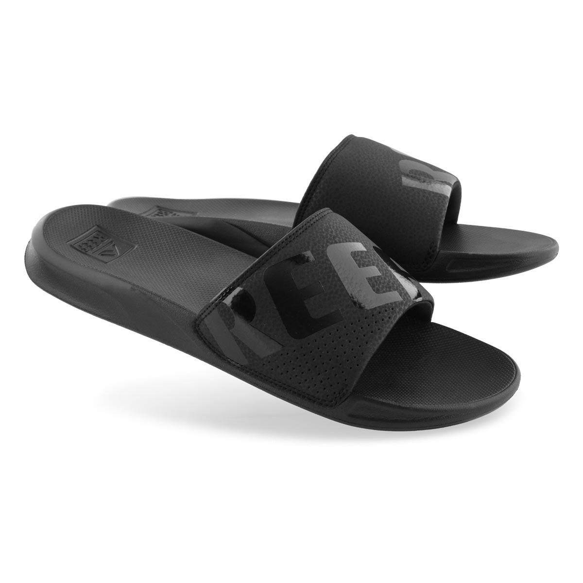 63fc5f83dbc2f Reef Men's REEF ONE all black slide sandals | Softmoc.com