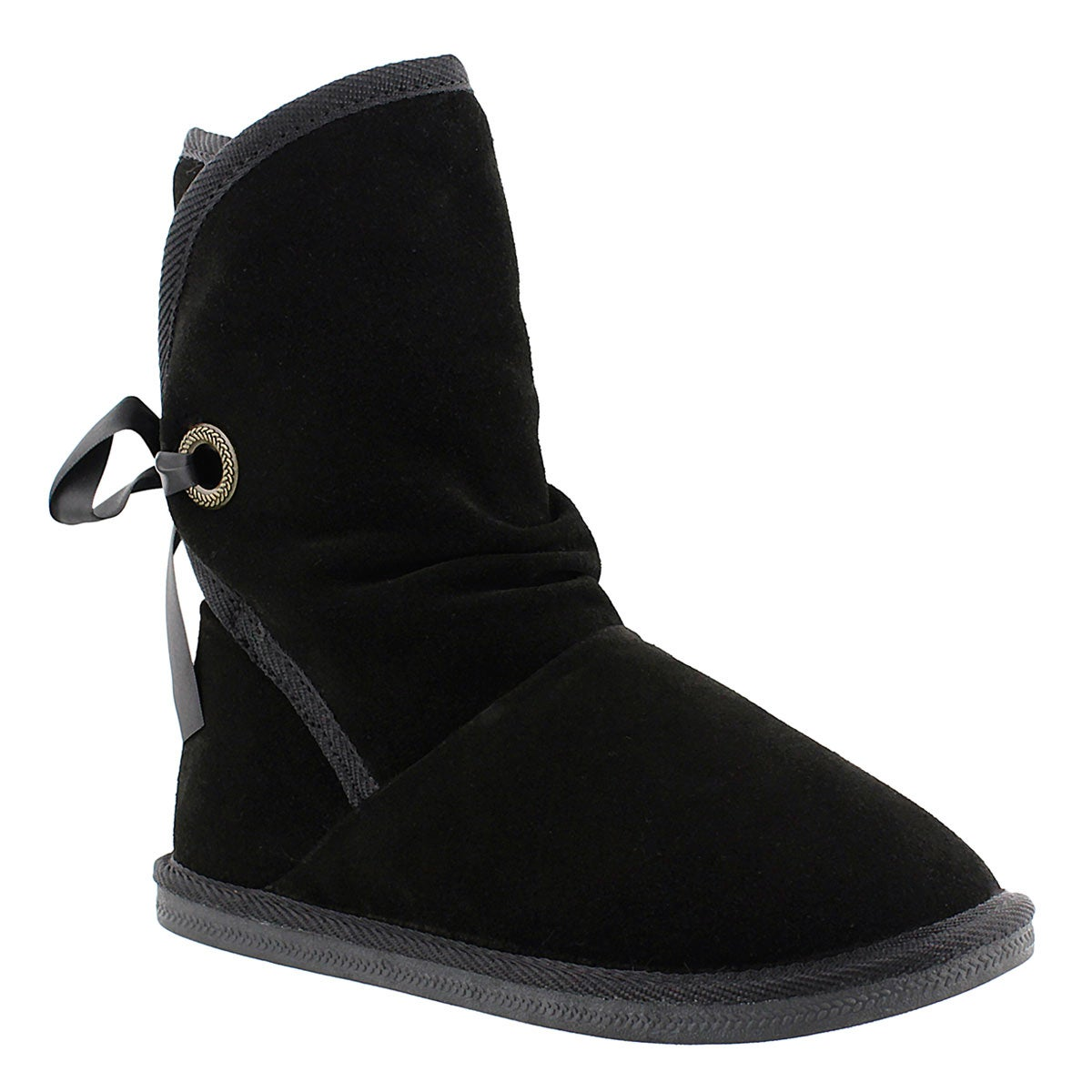 Lds Ribbon 2 blk suede lined boot