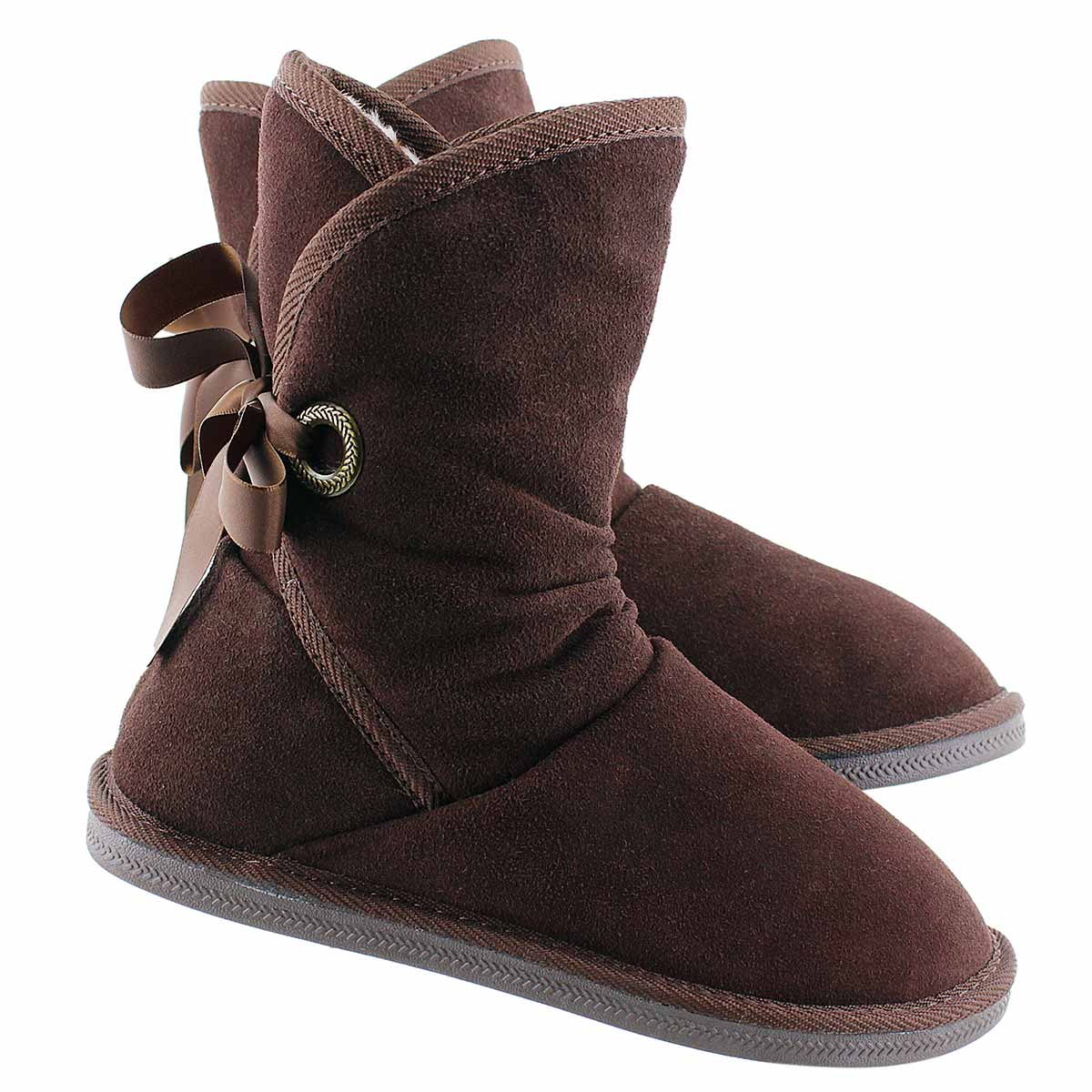 Lds Ribbon 2 choc brn suede lined boot