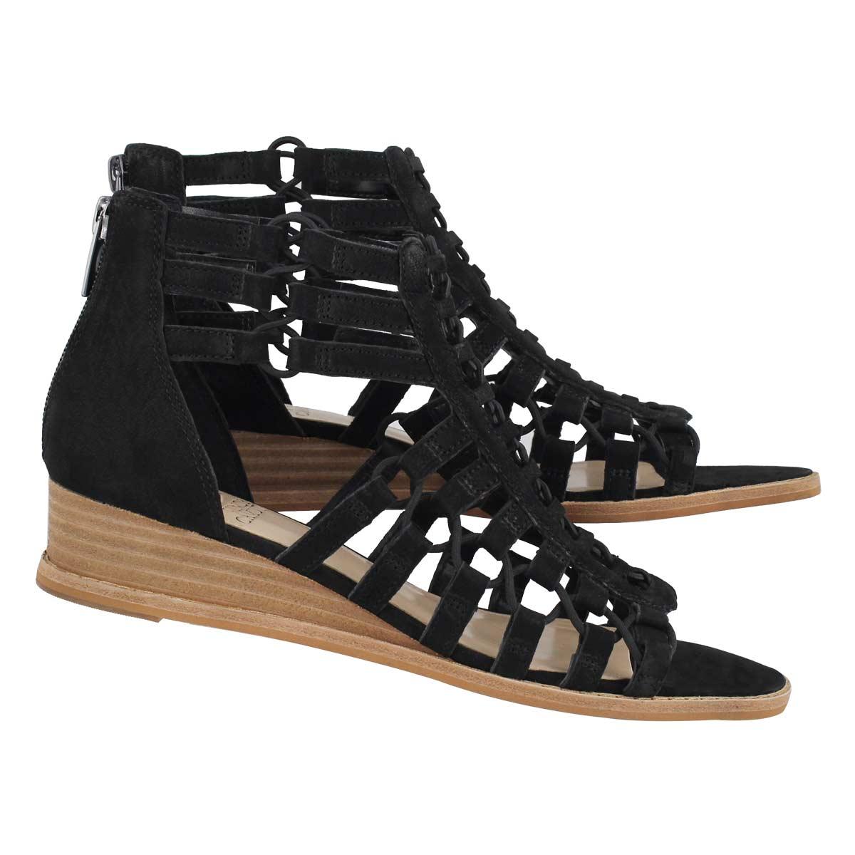 Lds Richetta black casual wedge sandal