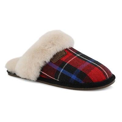 Lds Rihana red plaid open back slipper