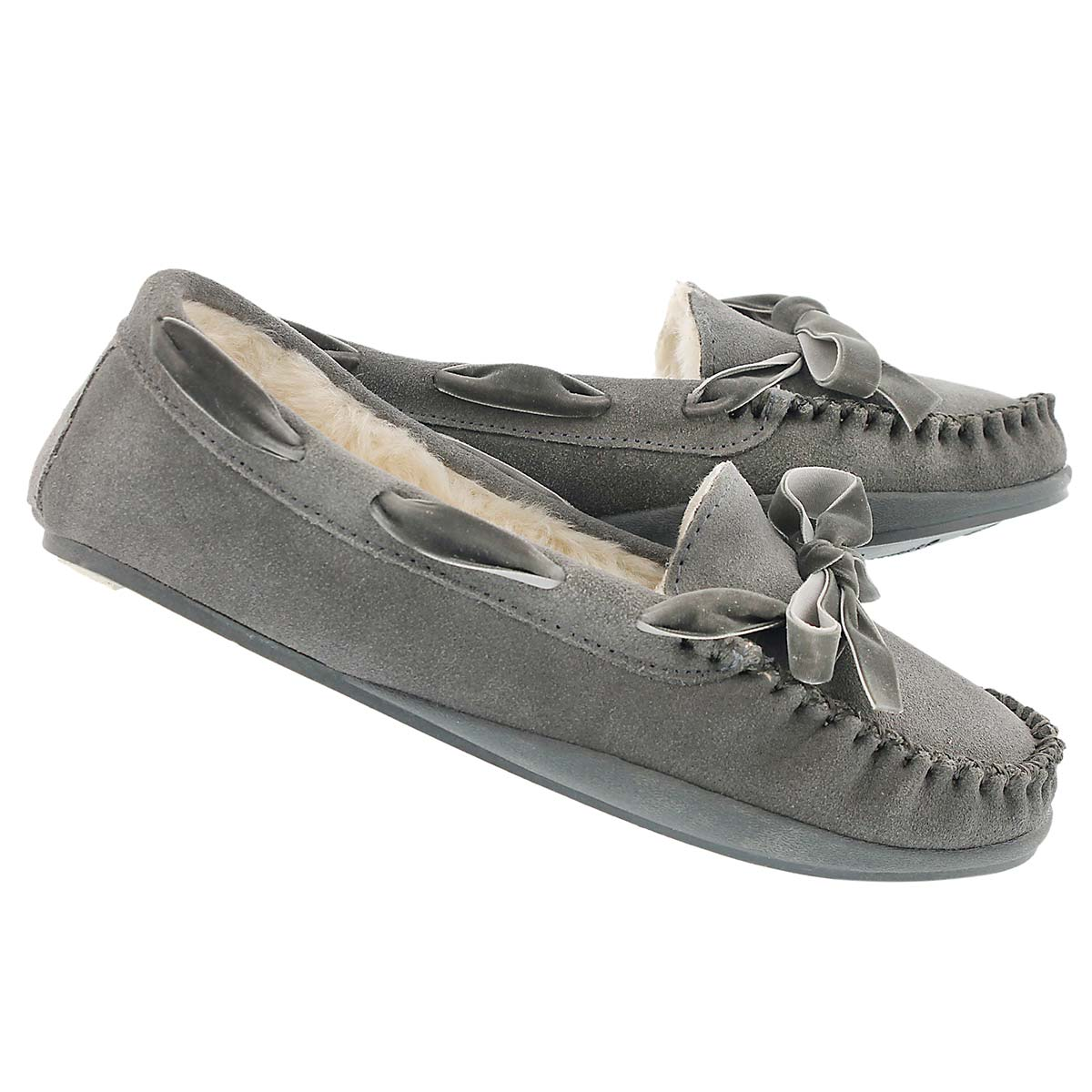 Lds Rochelle grey suede moccasin