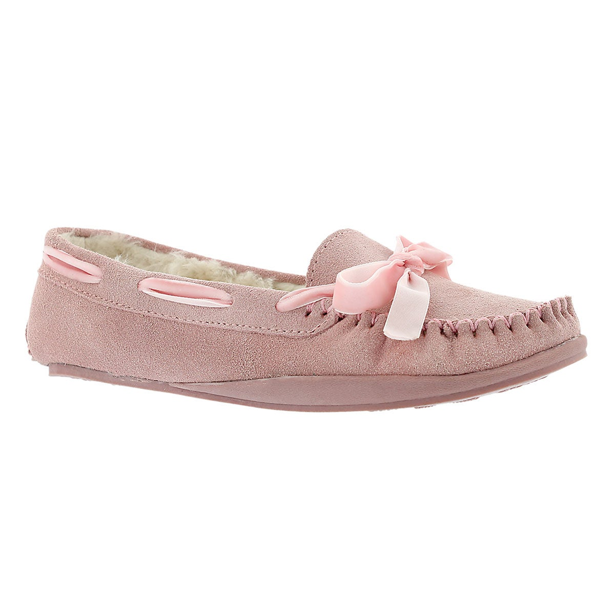 Women's ROCHELLE pink suede moccasins