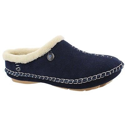 Lds Rosa navy closed back slipper