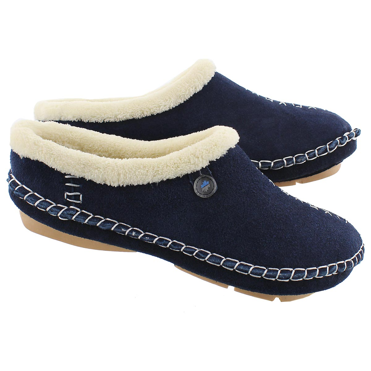 Lds Rosa navy closed back slipper