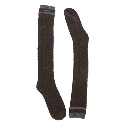 Women's 56N OVERSIZED CABLE brown tweed socks