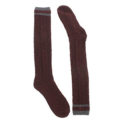 Chaussettes 56N OVERSIZED CABLE, tweed séquoia,fem
