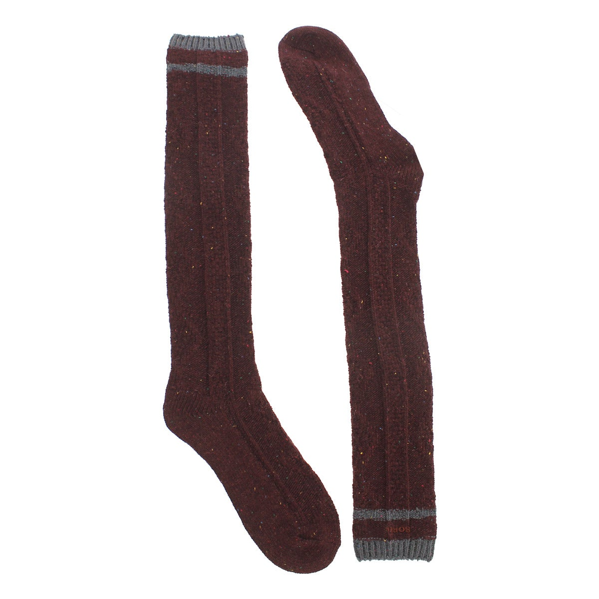 Lds 56NOversizedCable redwood tweed sock