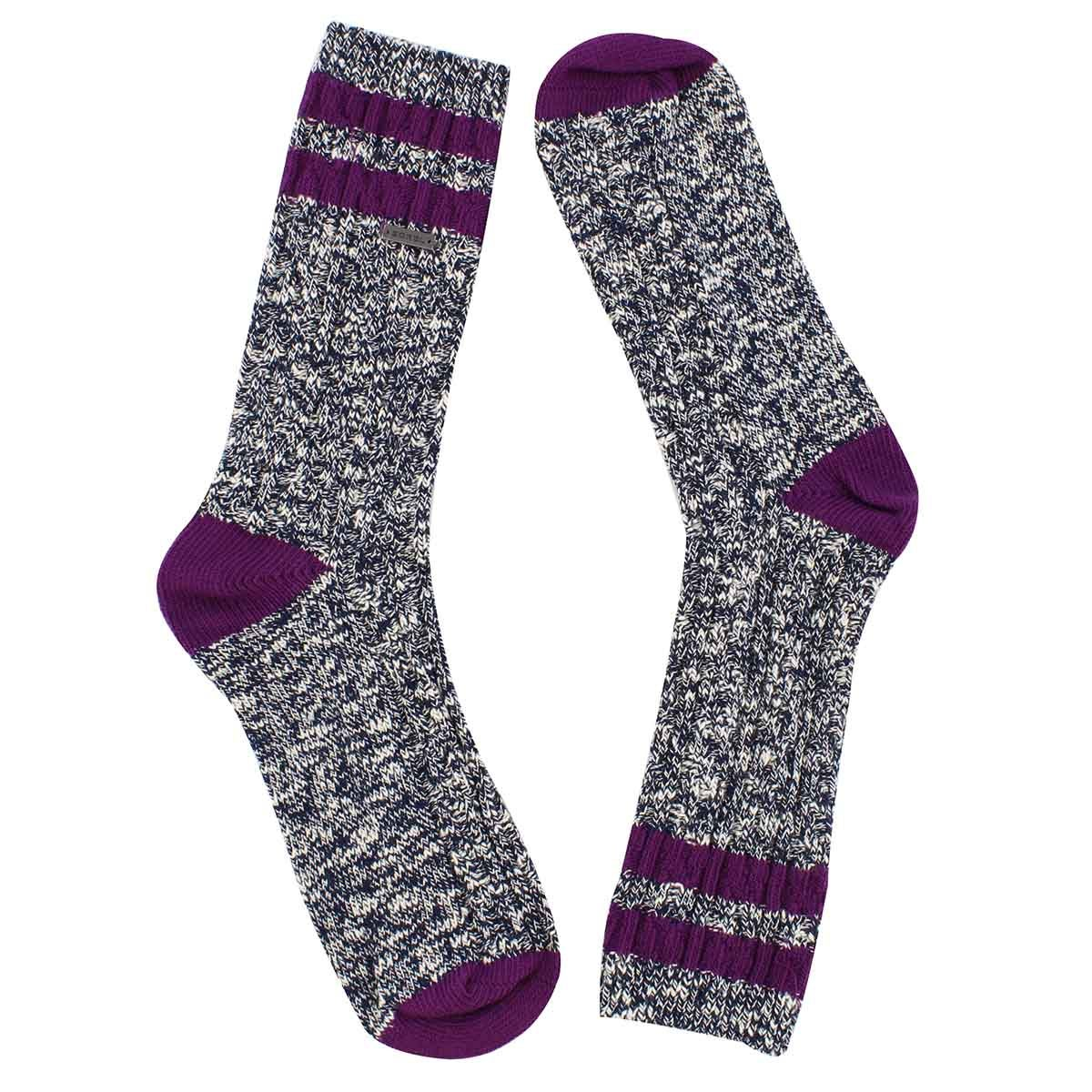 Lds VarsityStripe nvy/iris tall sock