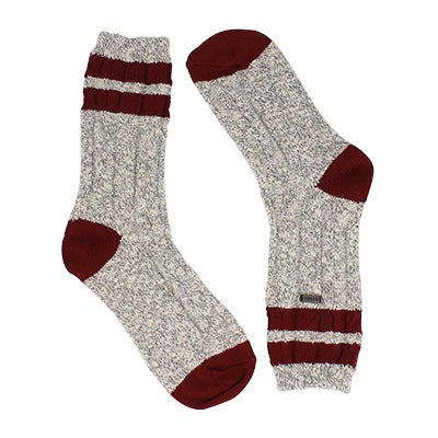 Lds VarsityStripe qry/wht/rd tall sock