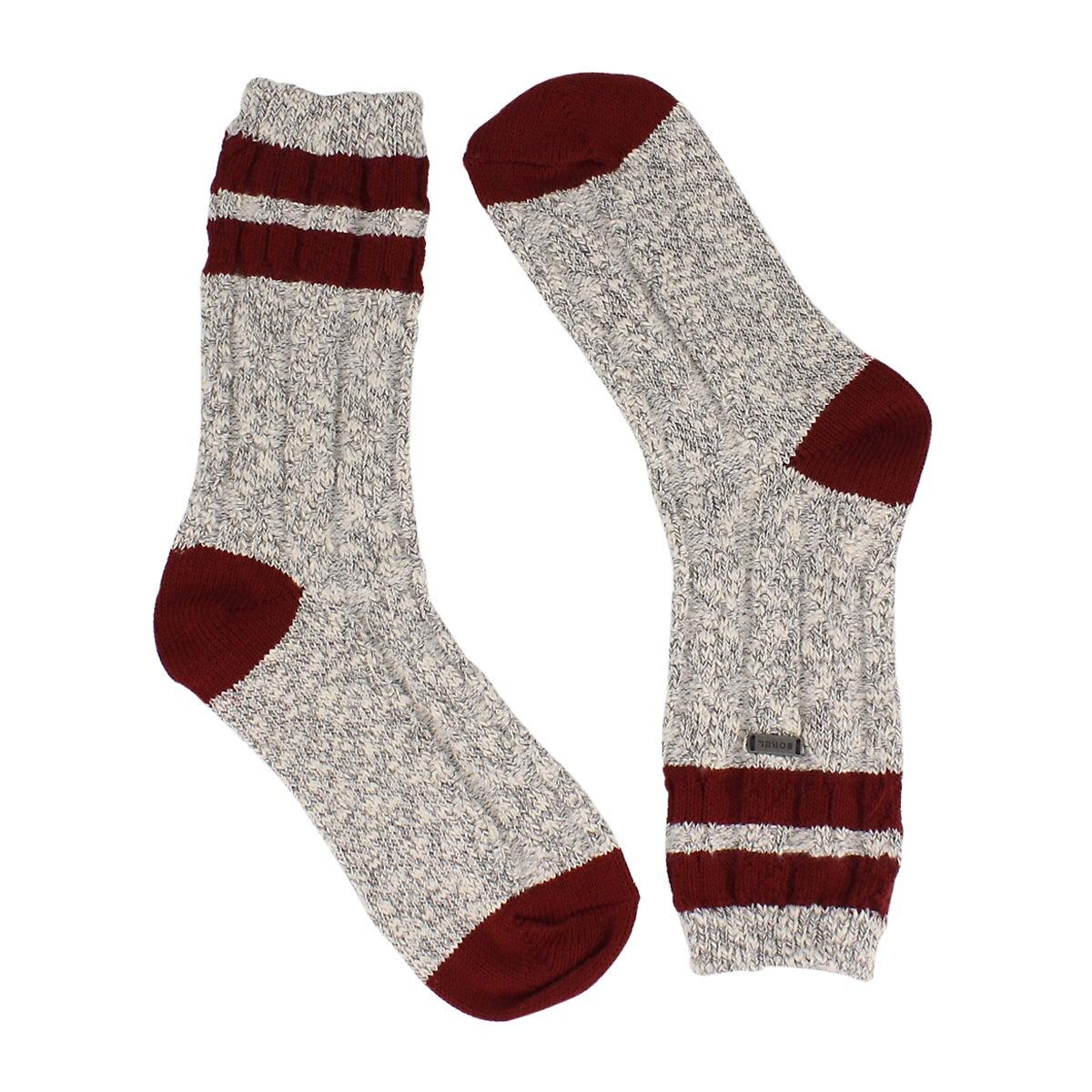 Women's VARSITY STRIPE quarry/wht/red tall socks