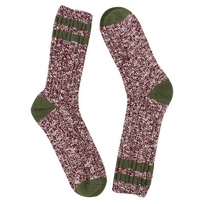Lds VarsityStripe wine/green tall sock