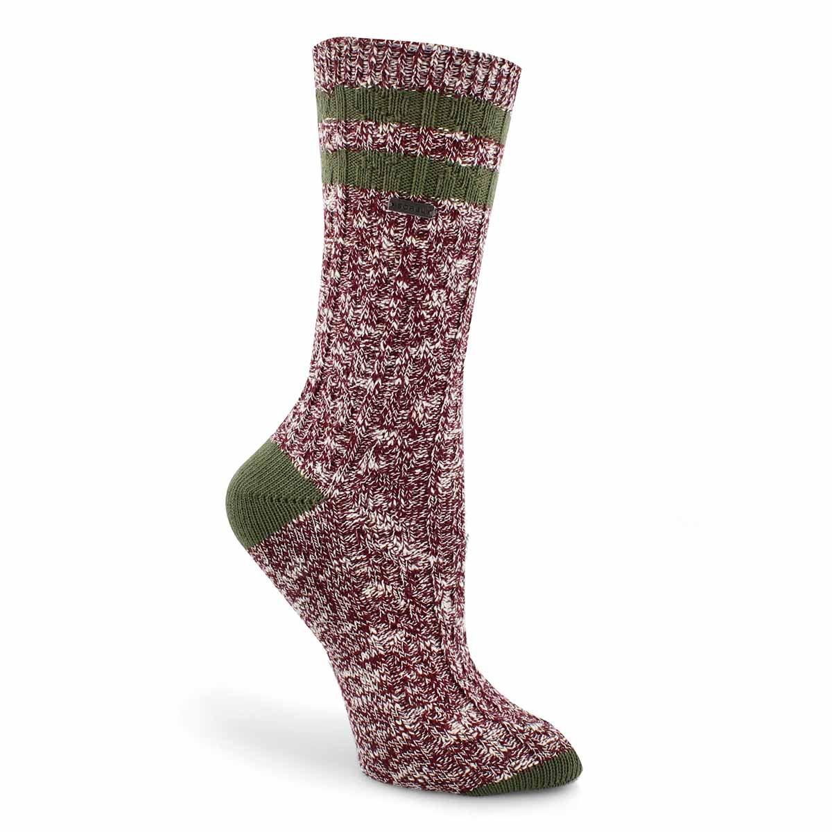 Lds VarsityStripe wine/green tall sock