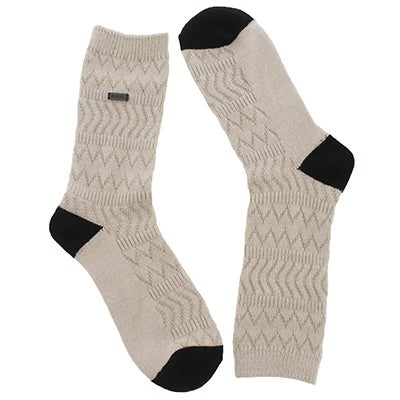 Lds Basic MerinoWool fawn/wht tall sock
