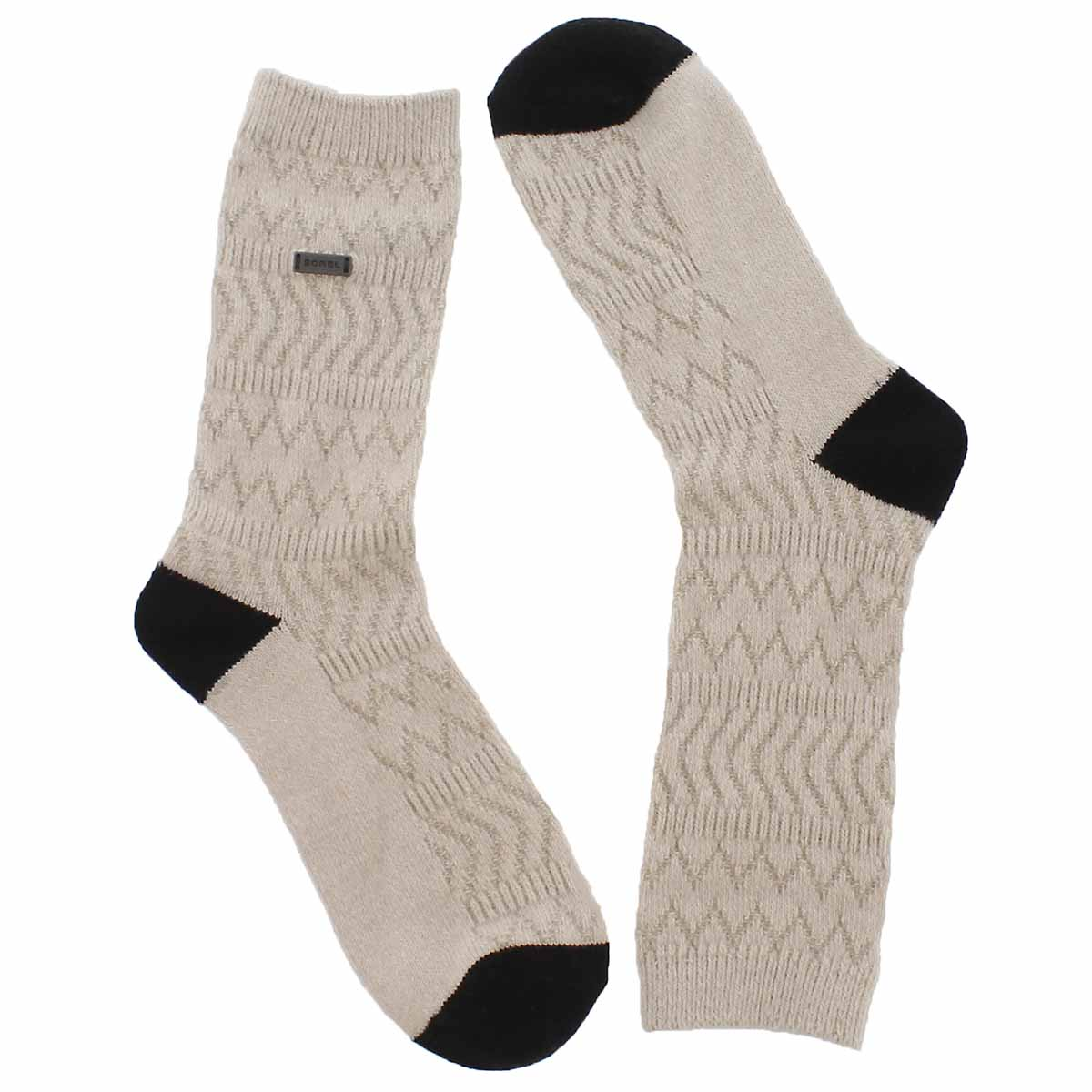 Women's BASIC MERINO WOOL fawn/wht tall socks