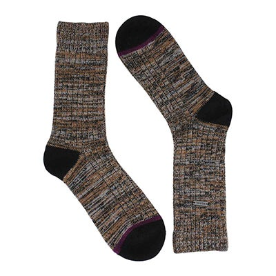 Lds Spacedye black/brown tall sock