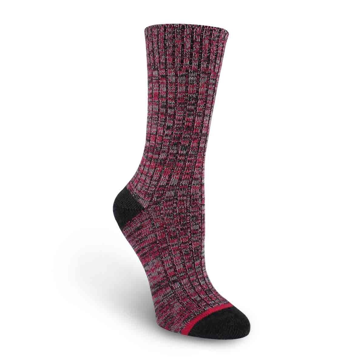 Lds Spacedye char/rose tall sock