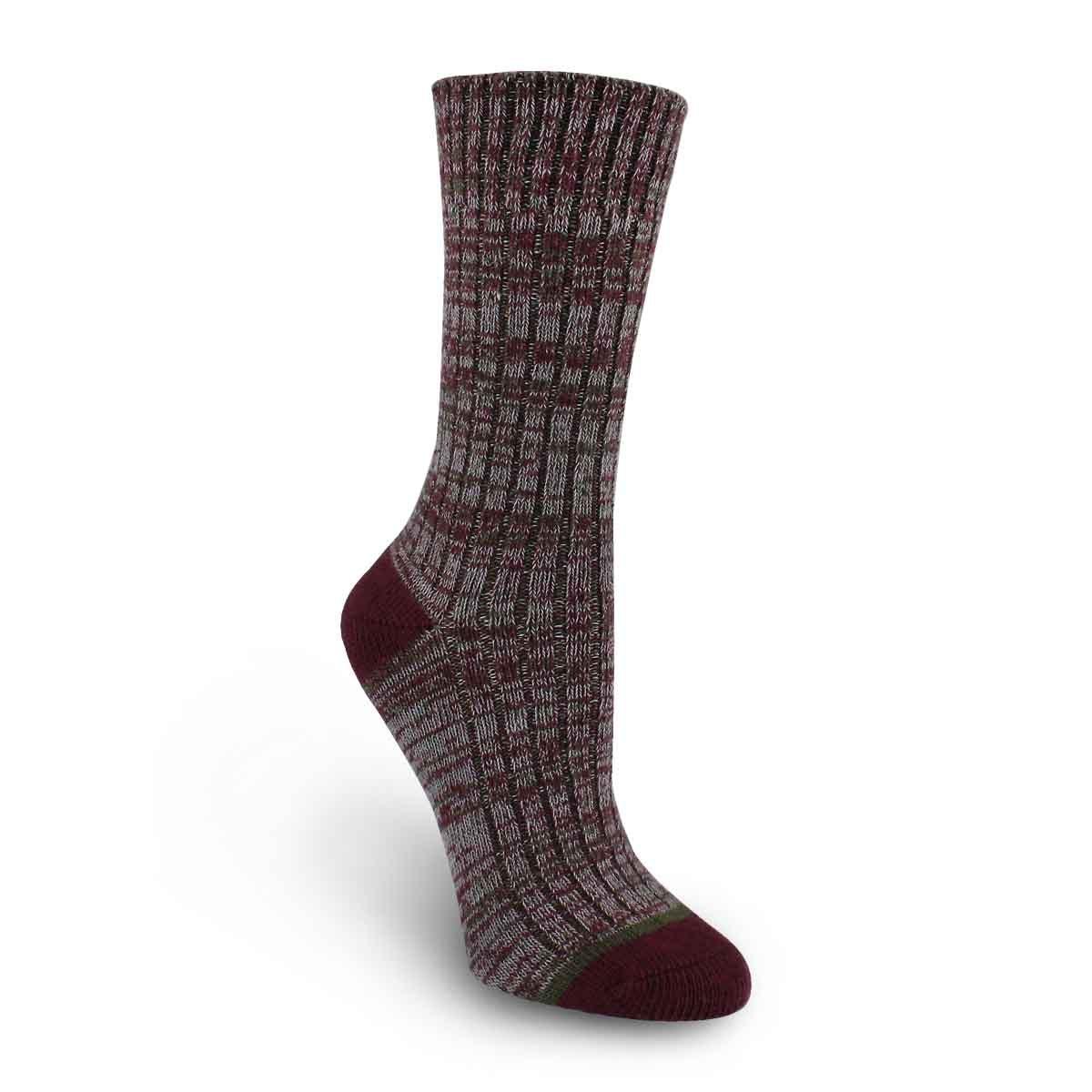 Lds Spacedye wine/grey tall sock