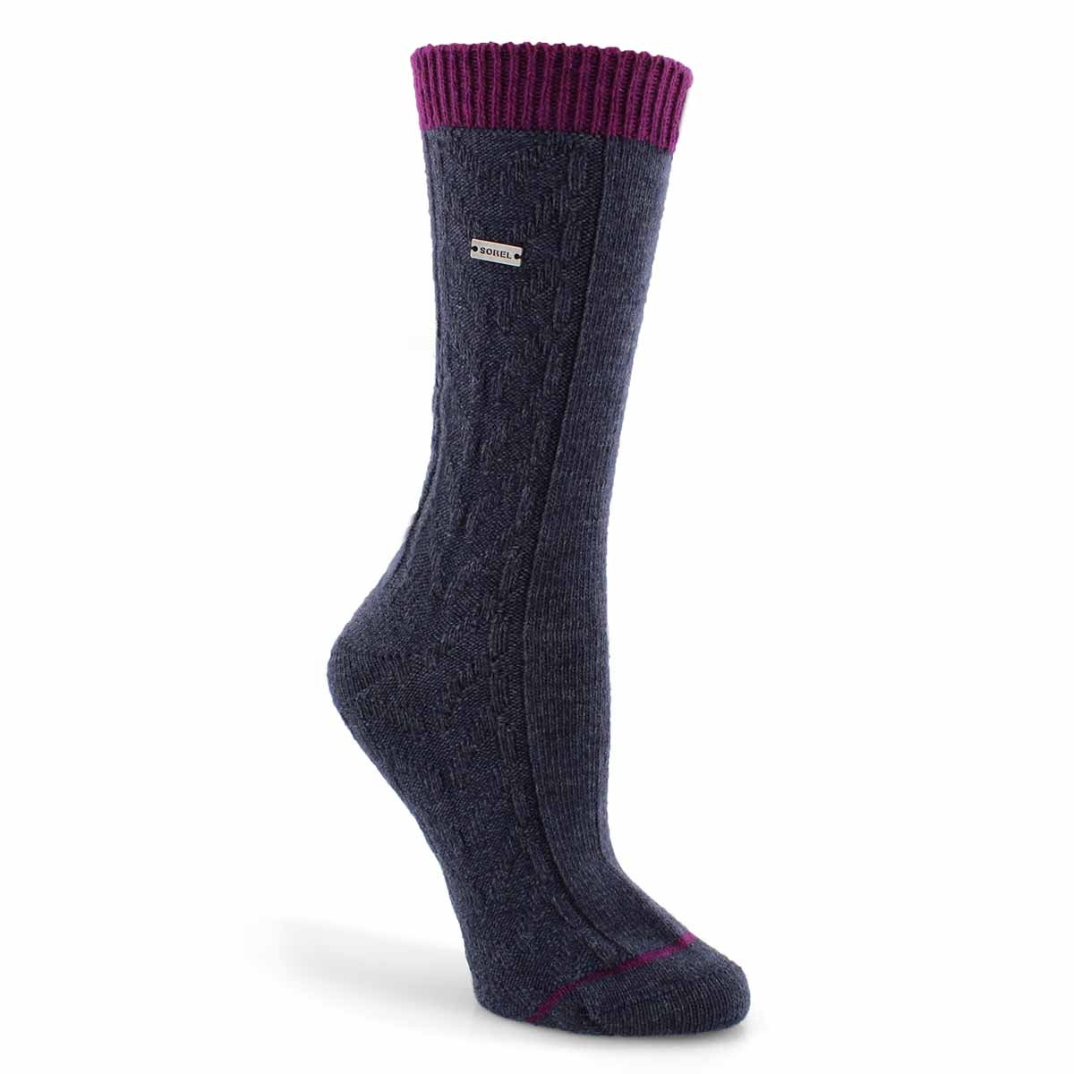 Lds Novelty Cable nvy/iris tall sock