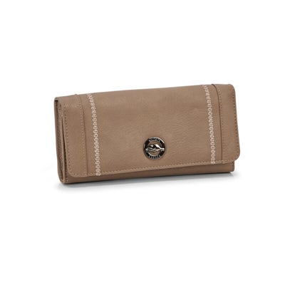 Lds Alkaline taupe pocket clutch