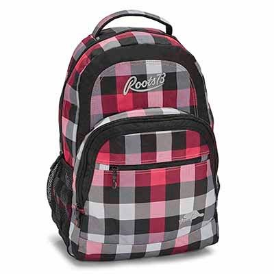 Roots Women's RTS4503 pink plaid backpack