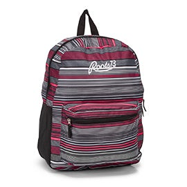 Roots Women's RTS4620 grey/pink/black stripe backpack
