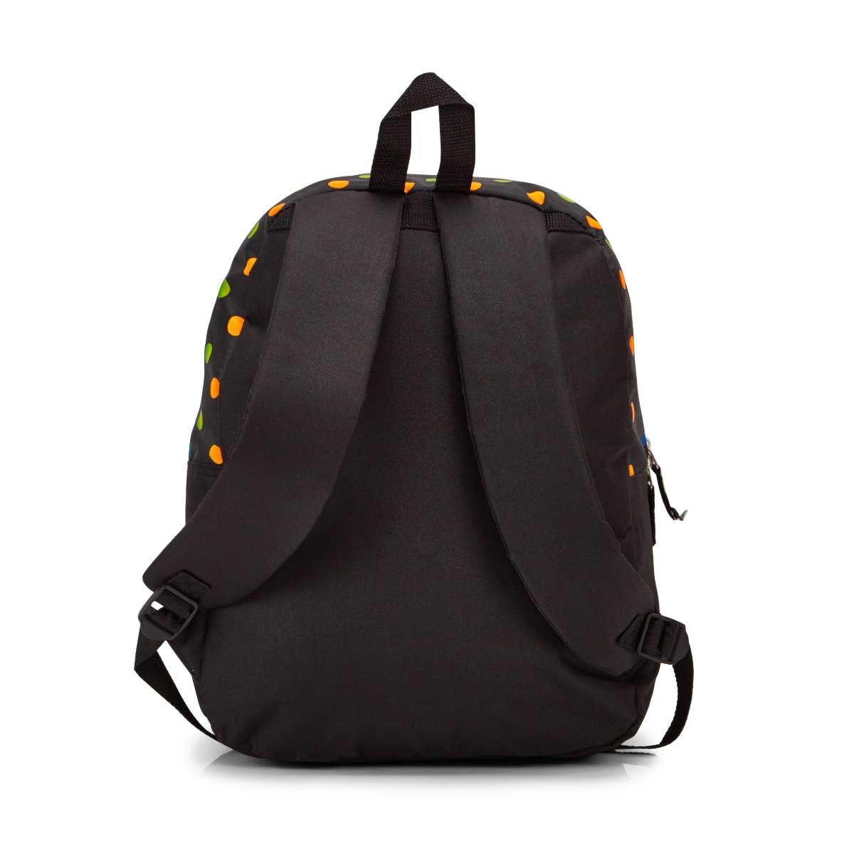 Lds Roots73 blk mlti polka dots backpack