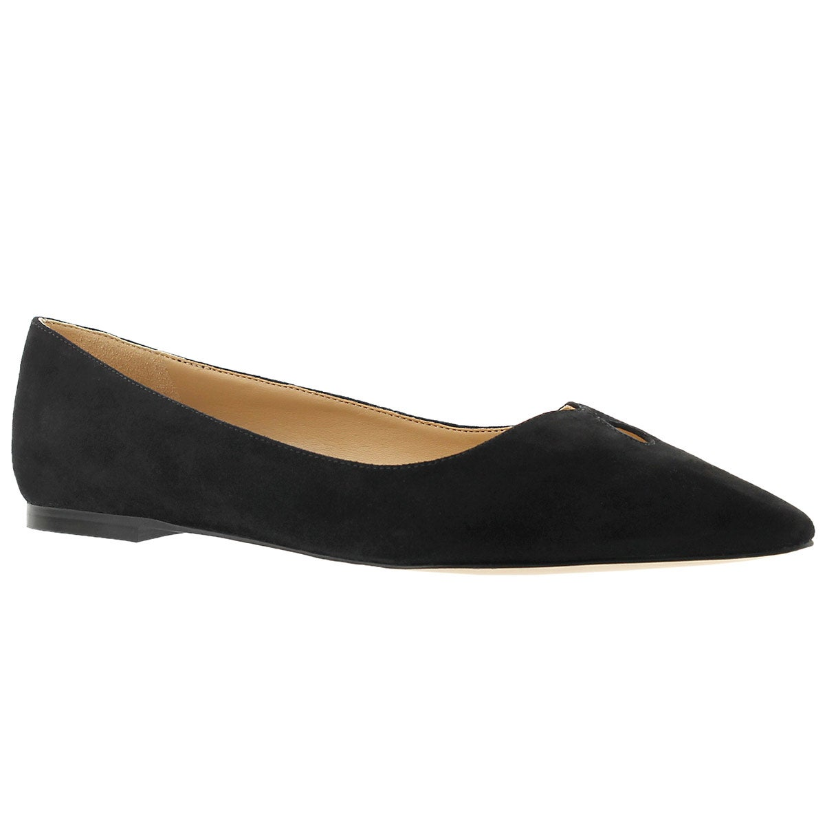 Lds Ruby black suede dress flat