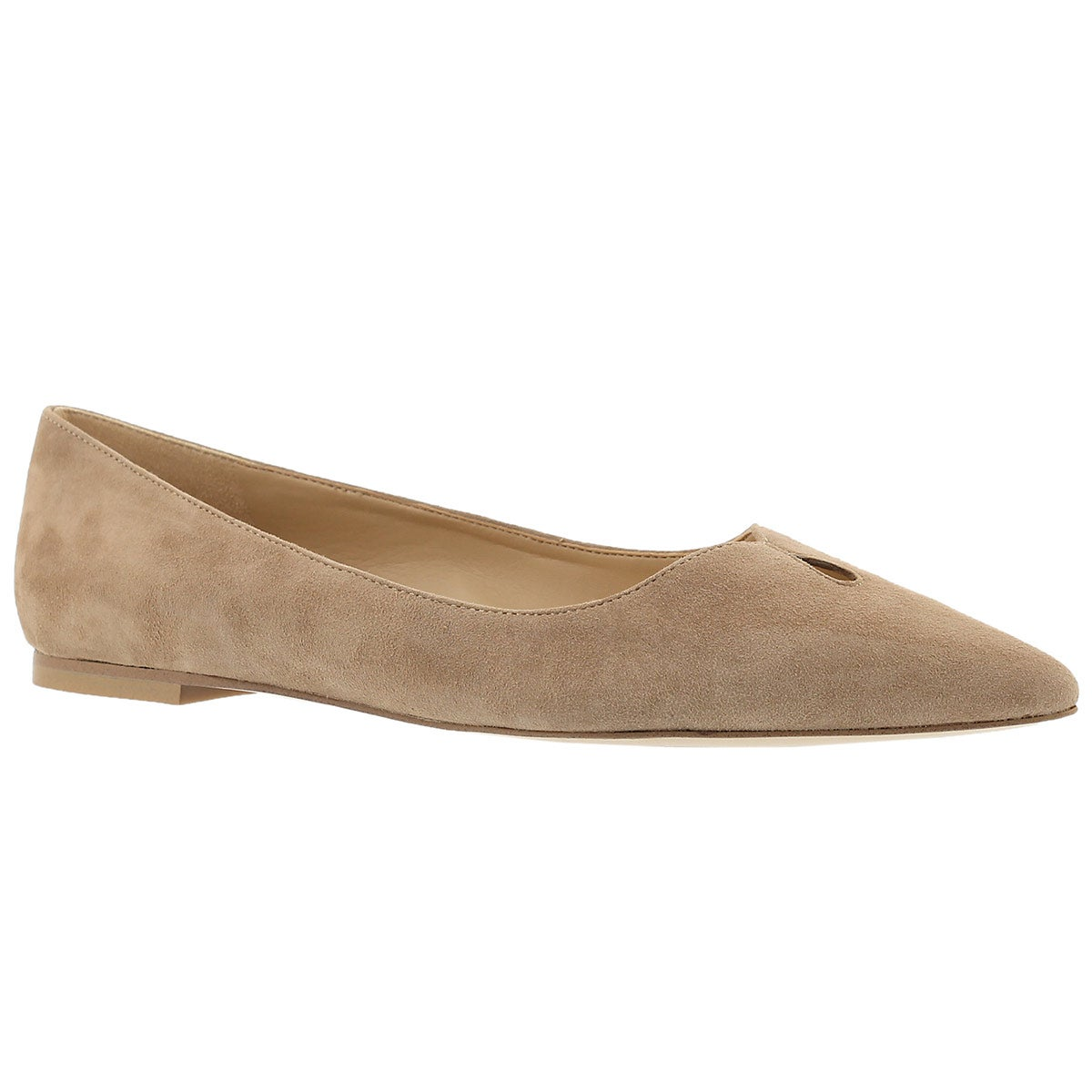 Lds Ruby oatmeal suede dress flat