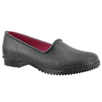 Lds Ruby blk snake rubber loafer