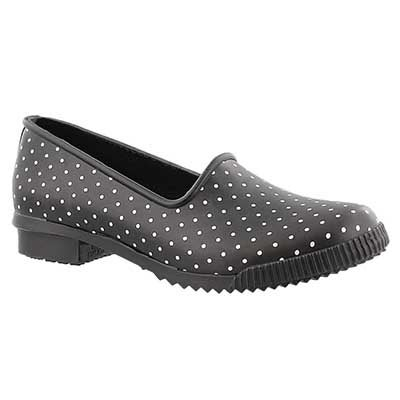 Cougar Women's RUBY black polka dot rubber loafers