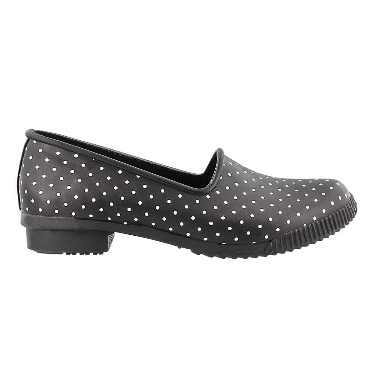 Lds Ruby blk polka dot rubber loafer