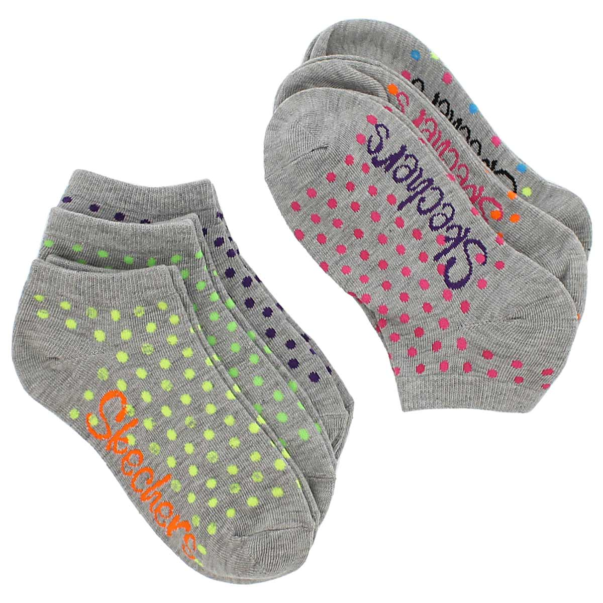 Grls Low Cut Fashion multi MED sock 6pk