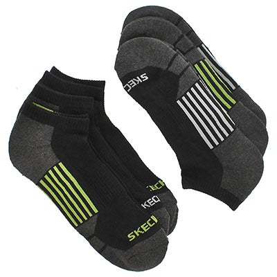 Men's 1/2 TERRY CREW black/green socks -6 pk