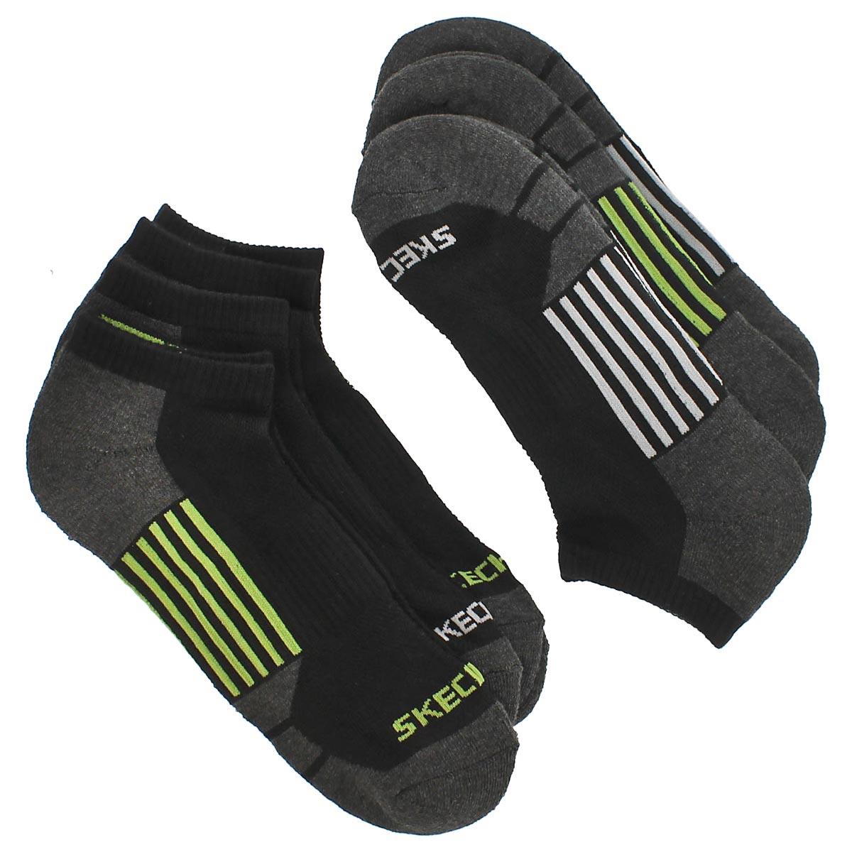 Mns 1/2 Terry Crew blk/grn socks 6pk