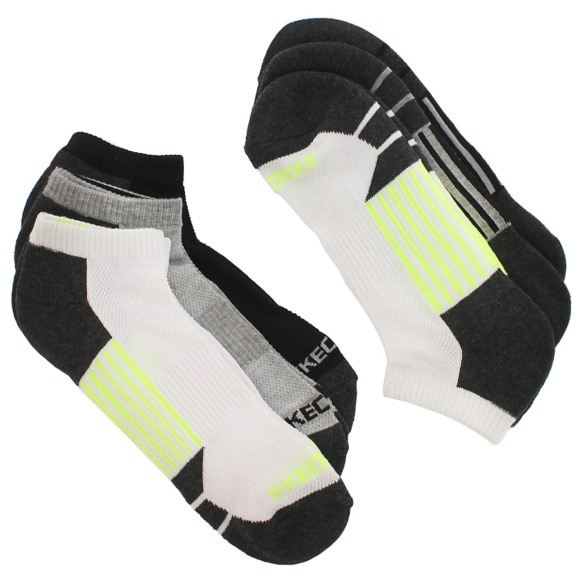 Men's 1/2 TERRY CREW white/yellow socks - 6 pk