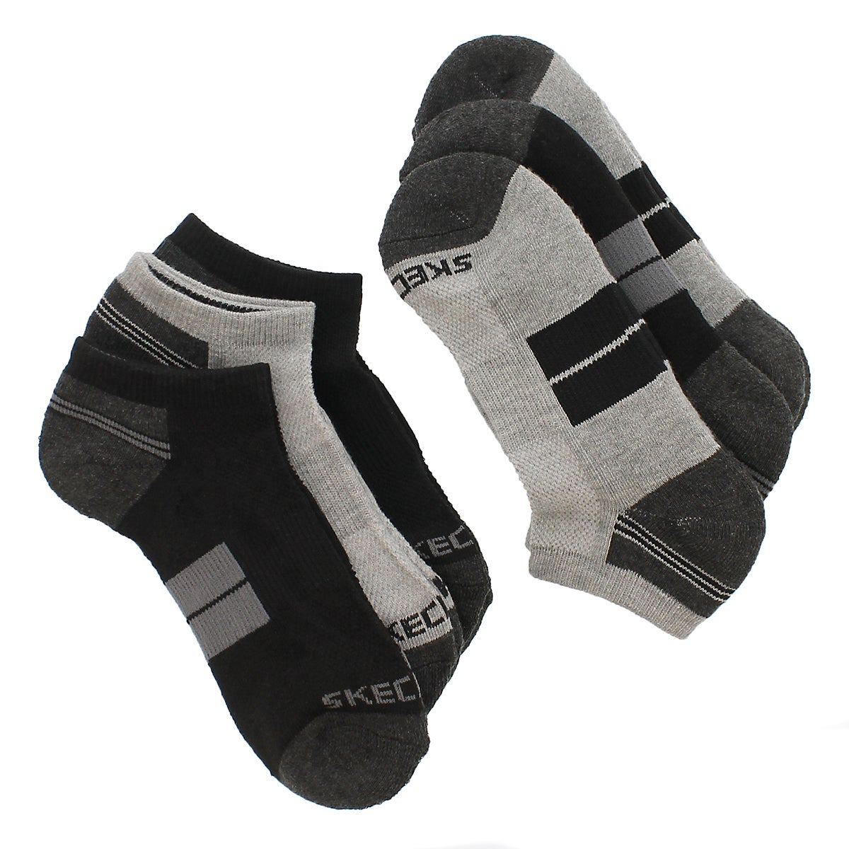 Bys Low Cut 1/2Terry gry/blk MED sock 6p