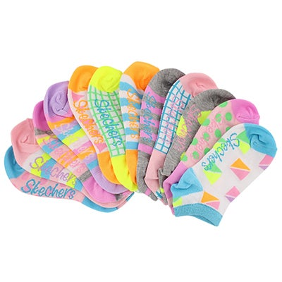 Skechers Girls' MIX & MATCH white/multi low cut socks - 6pk