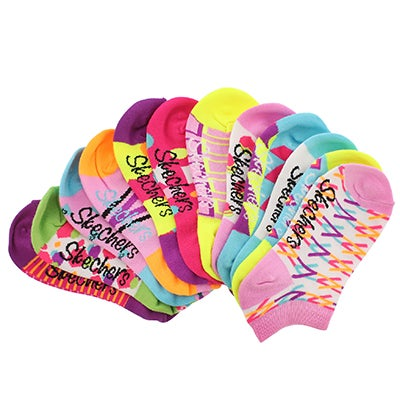 Skechers Girls' MIX & MATCH ppl/pnk low cut socks - 6pk