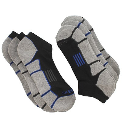 Men's 1/2 TERRY LOW CUT black/blue socks - 6pk