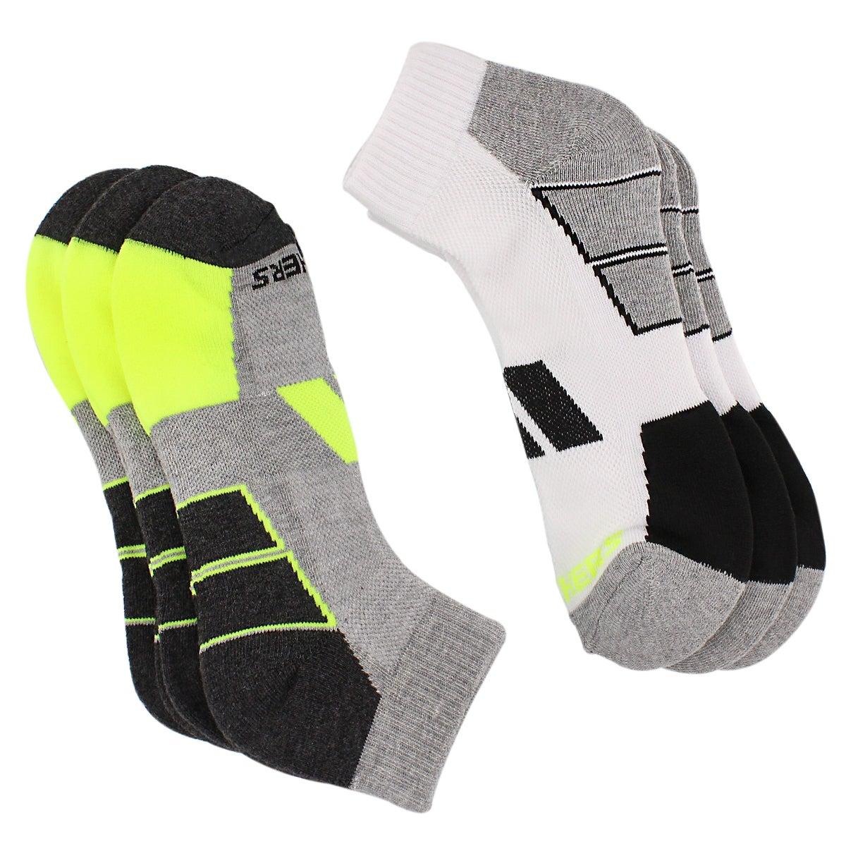 Mns 1/2 Terry Qtr Crew blk/yel 6pk sock