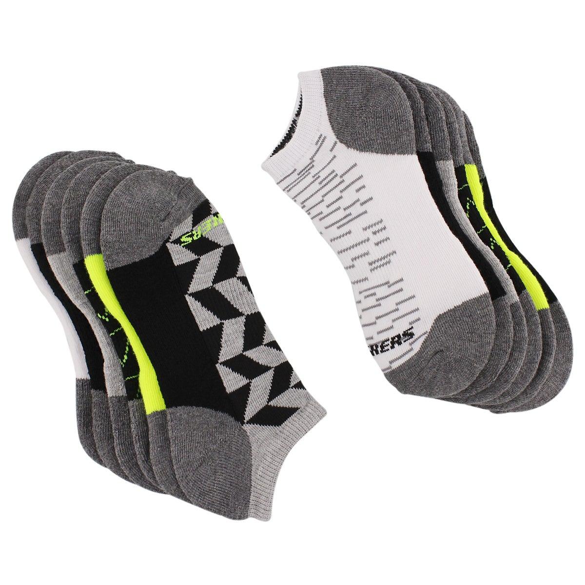 Bys 1/2 Terry Sport wht/gry 6pk low sock