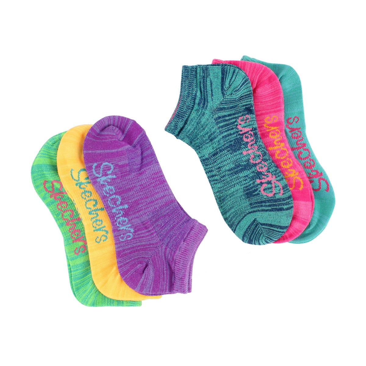 Girls' LOW CUT NO TERRY MED multi socks - 6pk