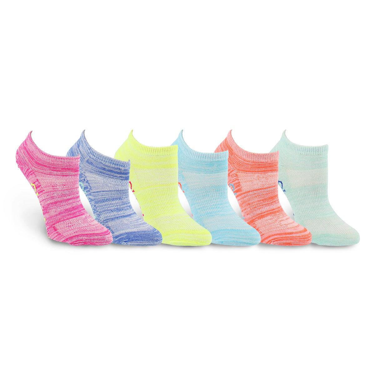 Grls Low Cut NoTerry multi MED sock 6pk