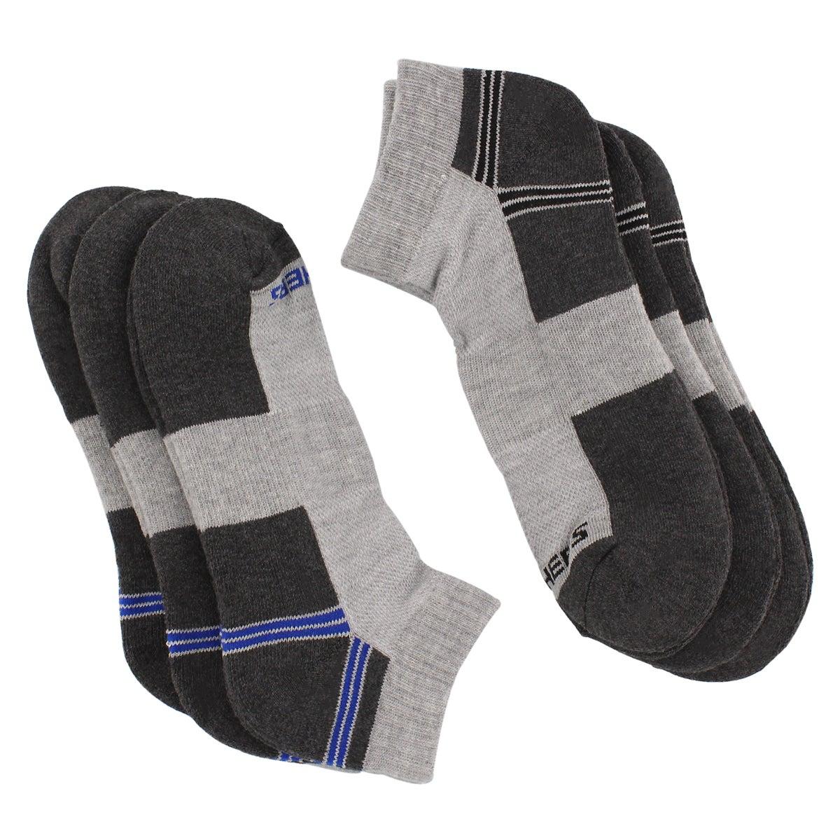 Men's HALF TERRY grey 1/4 crew socks - 6pk