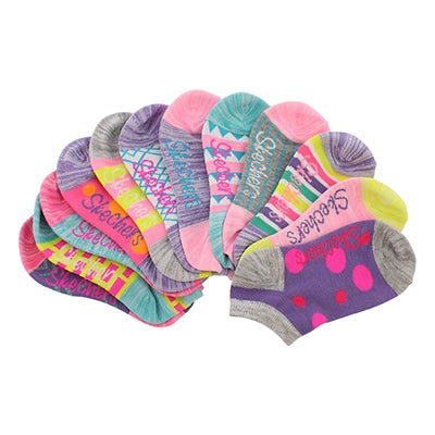 Grls Mix&Match Low Cut MED mlti sock 6pk