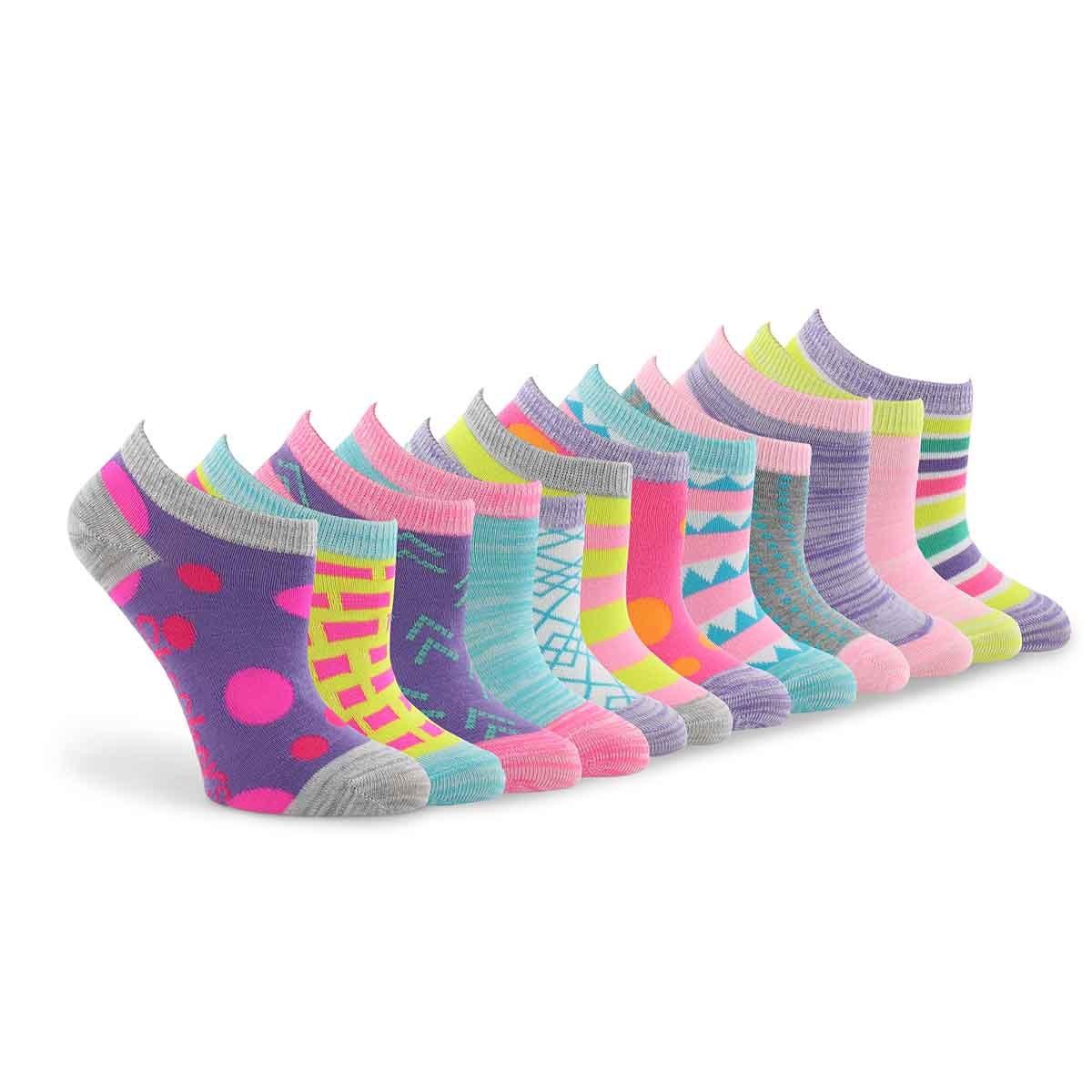Grls Mix&Match Low Cut MED mlti sock 6pk